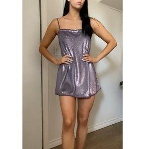 Purple sequinned Free People mini dress